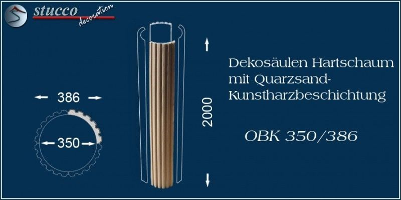 Dekosäulen aus Hartschaum mit Beschichtung OBK 350/386
